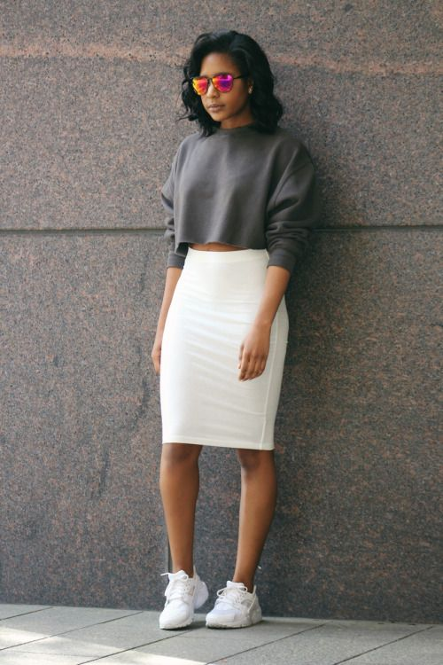 A gray sweatshirt, white pencil skirt, and sneakers. | Skirt and .
