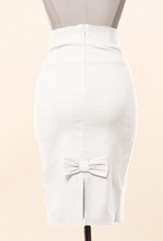 Business Casual Bow Back High Waist Pencil Skirt in White .