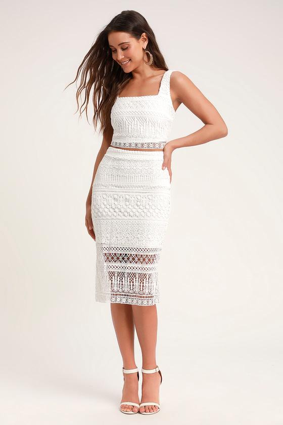 Chic White Crochet Lace - White Pencil Skirt - White Midi Ski