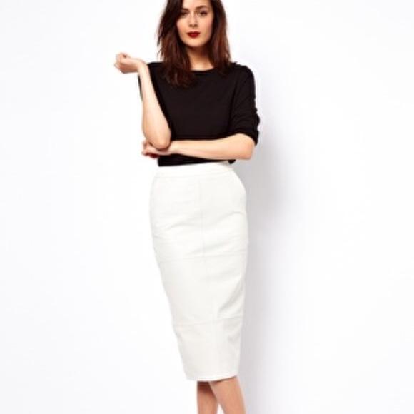 ASOS Skirts | White Leather Pencil Skirt Midi With Pockets | Poshma