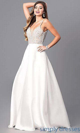 Long Formal Off-White Prom Dress with Beaded Bodice in 2020 | Prom .