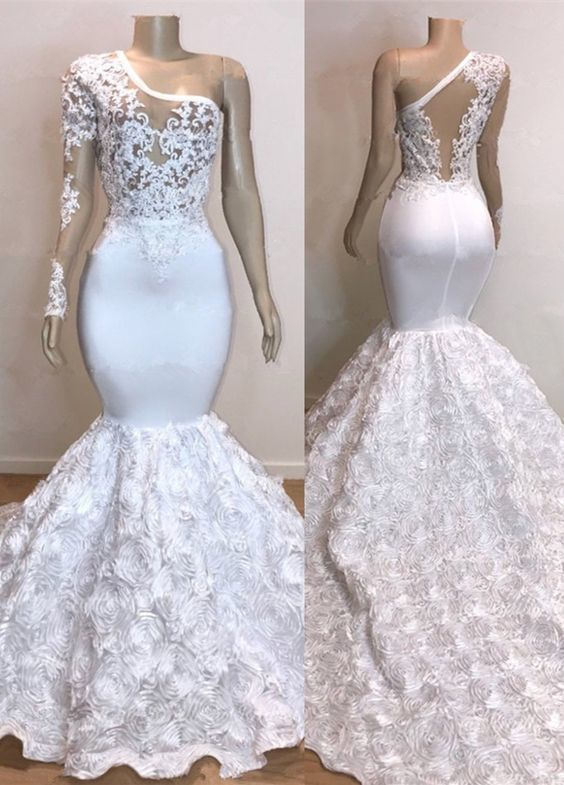 2019 White Gorgeous Rose Flowers Mermaid Prom Dresses Appliques .
