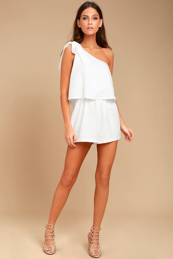 Destined for Chicness White One-Shoulder Romper in 2020 | Rompers .