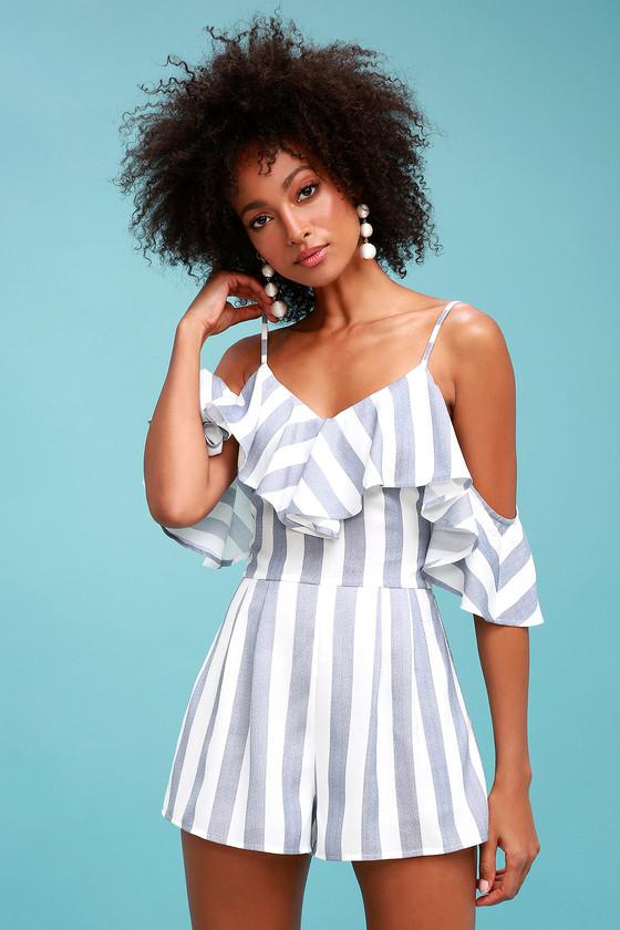Cute Blue and White Striped Romper - Off-the-Shoulder Romp