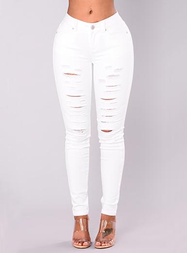 Women's Distressed White Skinny Jeans - Belt Loops / Front Zipp