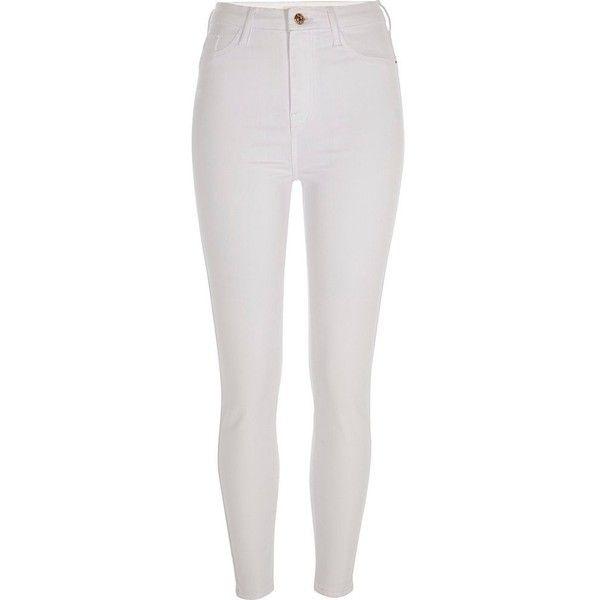River Island White Harper super skinny jeans ($76) ❤ liked on .