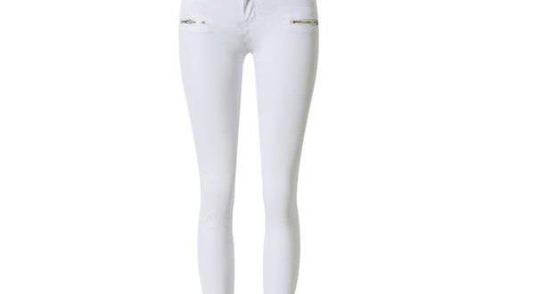 2018 fashion zippers elastic high waist jeans woman white skinny .