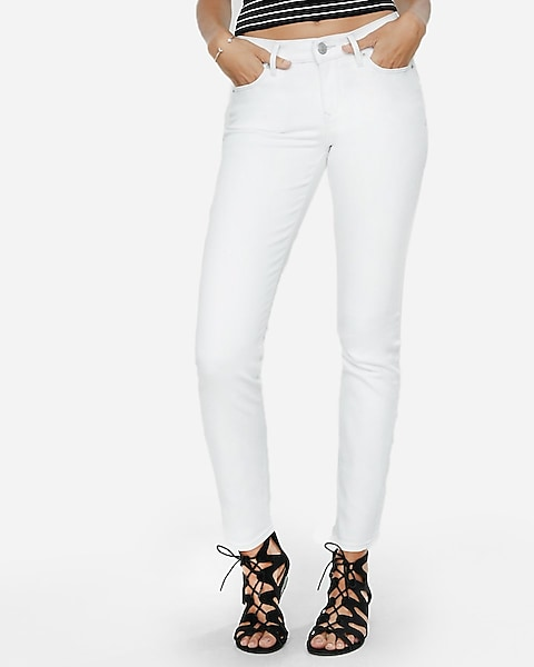 Mid Rise White Skinny Jeans | Expre