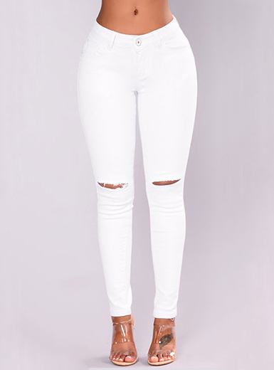 Women's White Denim Skinny Jeans - Distressed Kne