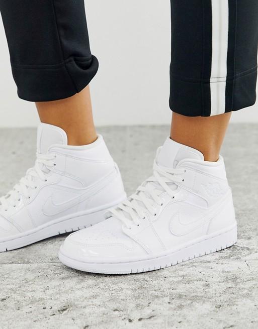 Nike Jordan 1 mid white sneakers | AS