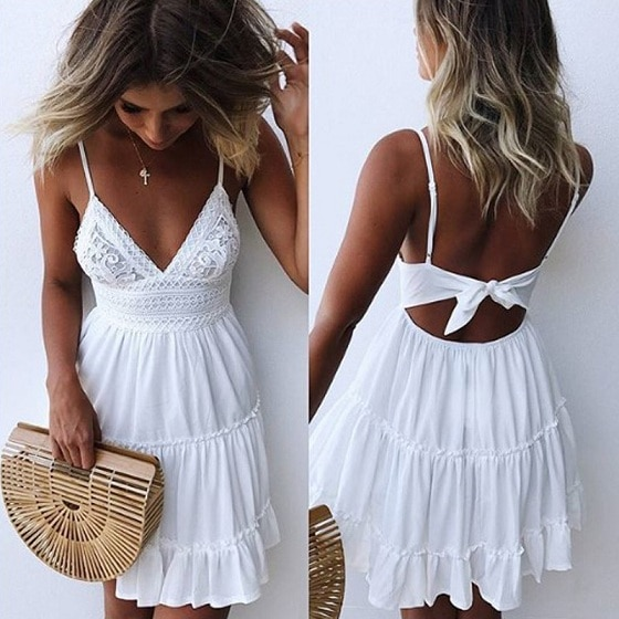 Girls White Summer Dress Spaghetti Strap Bow Dresses Sexy Women V .