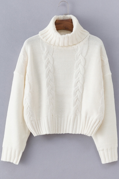 Women's Turtle Neck Long Sleeve White Cable Knitted Sweater .