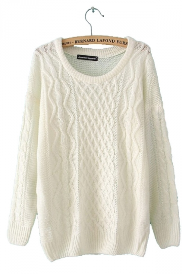 Cable Knit Pullover Beige White Sweaters Sweater Coats For Wom