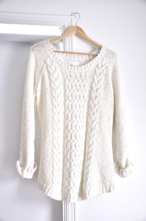 winter white sweater | Fashion, White knit sweater, Sty