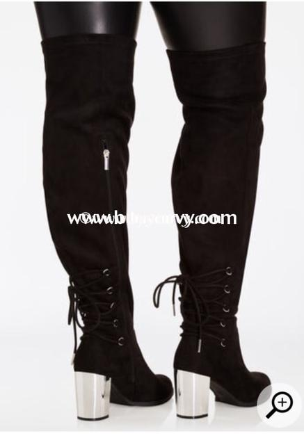 SHOES {Sole Mate} Black Extra-Wide Calf Thigh High Boots W Chrome .