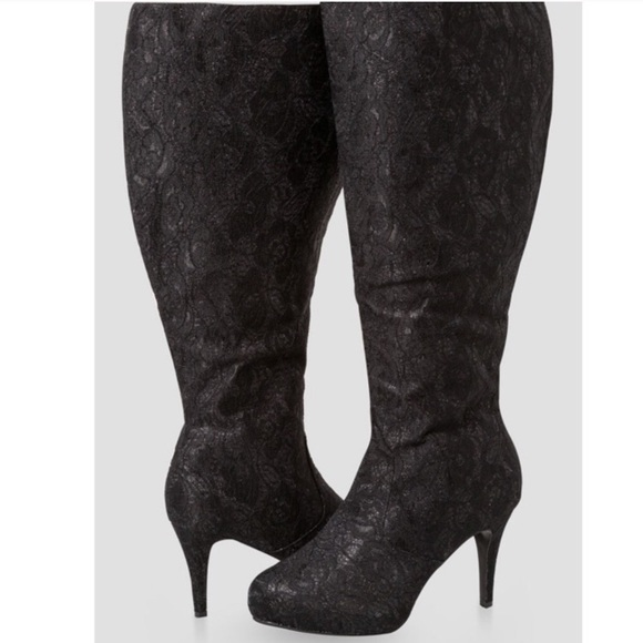 Ashley Stewart Shoes   Wide Calf Lace Glam Knee High Boots   Poshma