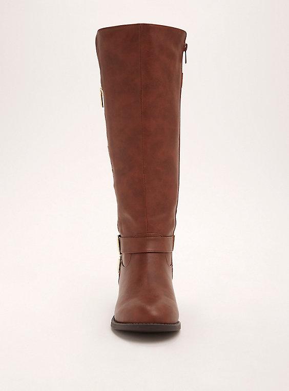 Plus Size - Double Buckle Side Zip Knee-High Boots (Wide Width .