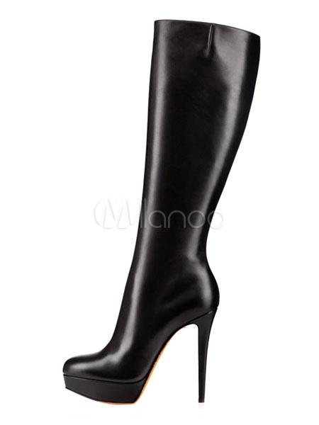 Women's Wide Calf Knee High Boots Black Leather Platform High Heel .