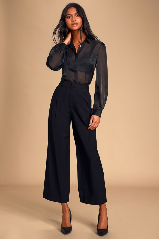 Chic Black Pants - Pleated Trouser Pants - Wide-Leg Pan