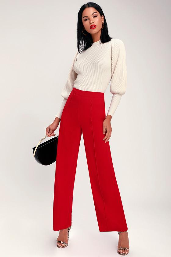 Cute Pants - Red Pants - Wide Leg Pants - Trouser Pan