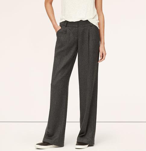 LOFT Tall Wool Twill Pleated Wide Leg Trousers, $89 | LOFT .