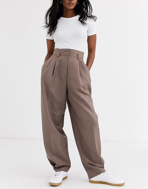 ASOS DESIGN cuffed wide leg pants in brown | AS