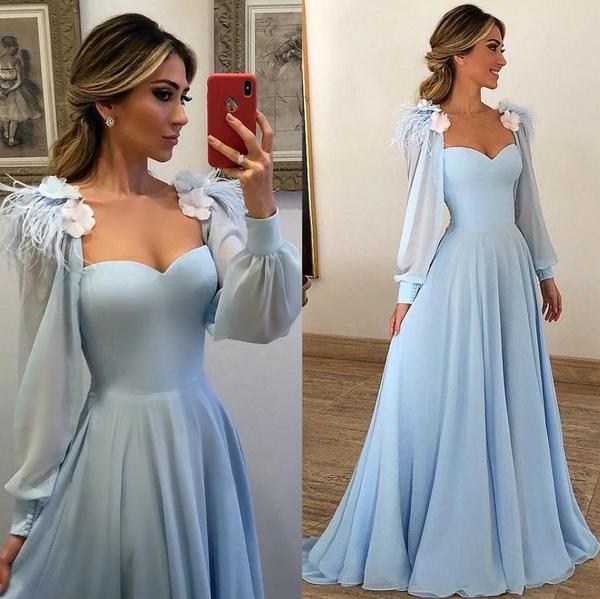Light Blue Prom Dress For Teens, Evening Gown, Graduation School .