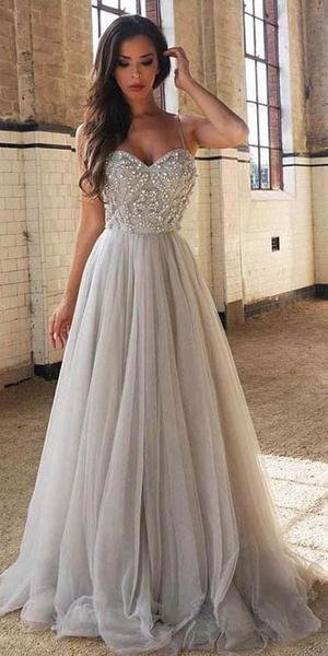 A-line Beading Long Prom Dresses ,Fashion Winter Formal Dress .