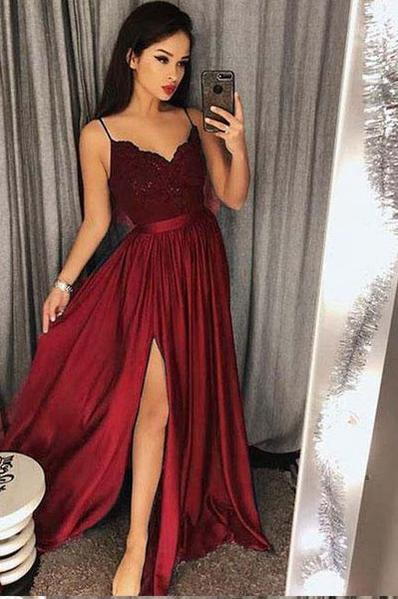 Sexy Prom Dress with Slit, Prom Dresses, Evening Gown, Graduation .