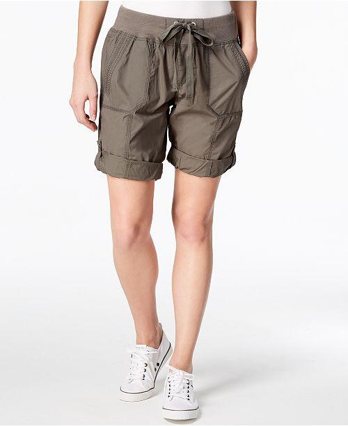 Calvin Klein Poplin Cargo Shorts & Reviews - Shorts - Women - Macy