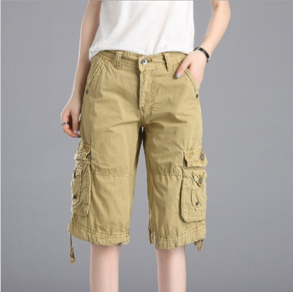 Military Womens Cotton Cargo Shorts for Women Summer Knee Length .