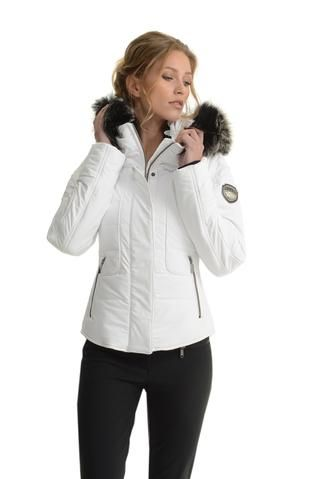Emmegi Dale Fitted White Ski Jacket with Fur Trimmed Hood (With .