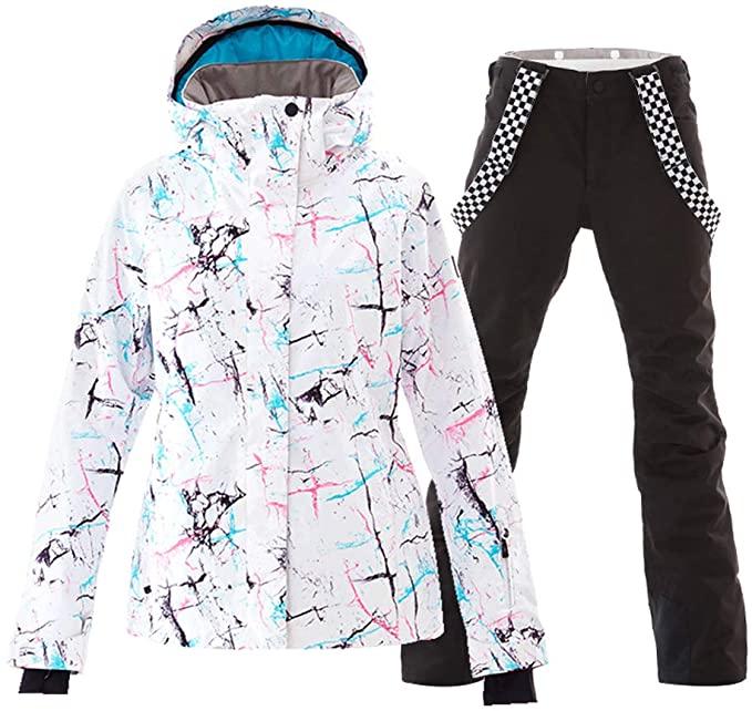 Amazon.com: Women's Ski Jackets and Pants Set Windproof Waterproof .