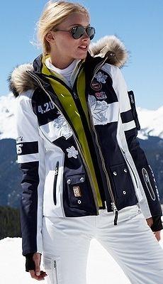 Women's ski wear   Winter fashion   White ski pants   Black and .