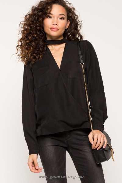 Zara Choker Blouse Women's Blouses - Black Tops 5929932 Shoes .