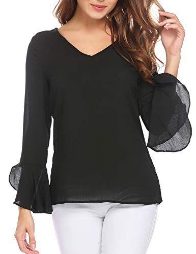 SummerRio Women's Long Sleeve V Neck Bell Sleeve Dressy Blouse .