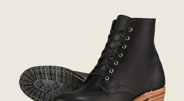 Women's Clara Heeled Boot in Black Leather 3405   Red Wi