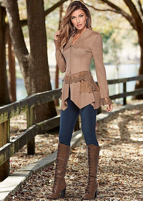 Tan FAUX SUEDE AND LACE JACKET from VENUS   Clothes, Autumn fashi