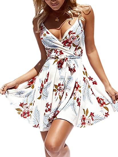 ECOWISH Womens Dresses Summer Floral Print V-Neck Spaghetti Strap .