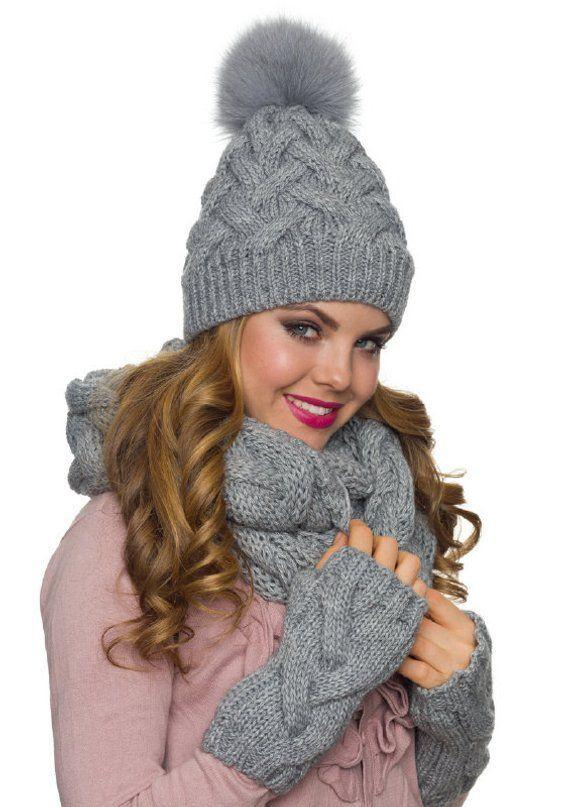 Womens hat scarf and glove set, Pom pom hat, Infinity scarf .