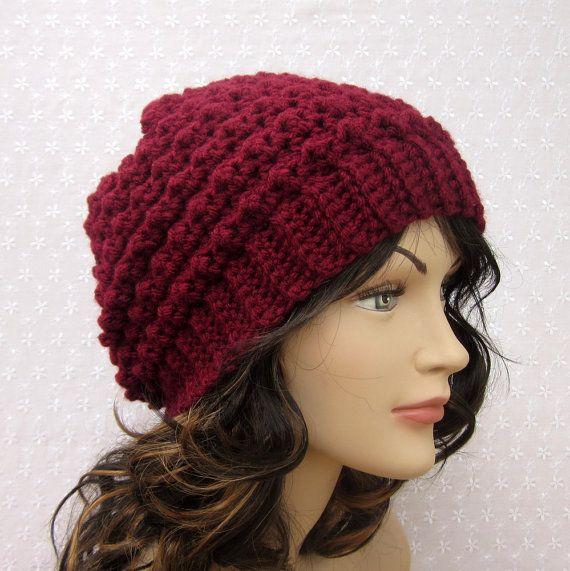 crochet womens hat free patterns | Wine Slouchy Crochet Hat .