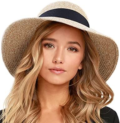 FURTALK Womens Beach Sun Straw Hat UV UPF50 Travel Foldable Brim .
