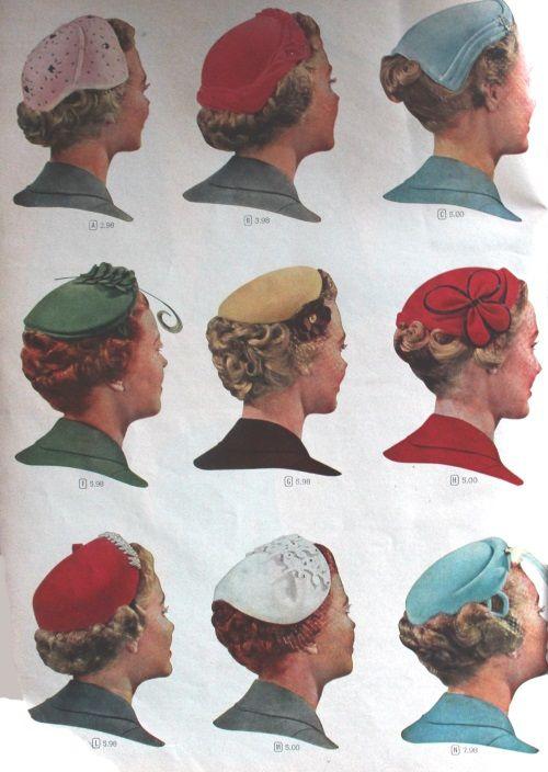 1950s Womens Hats by Style | Popular hats, Hats for women, 1950s ha