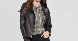 Women's Faux Leather Moto Jacket - Universal Thread™ Black : Targ