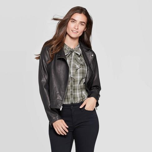 Women's Faux Leather Moto Jacket - Universal Thread™ Black : Targ