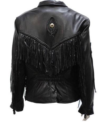 Women's Fringe Leather Jacket with Braid & Conch