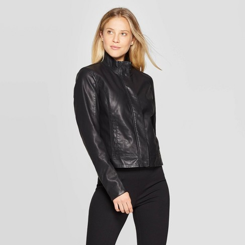 Women's Faux Fur Long Sleeve Leather Jacket - A New Day™ Black .