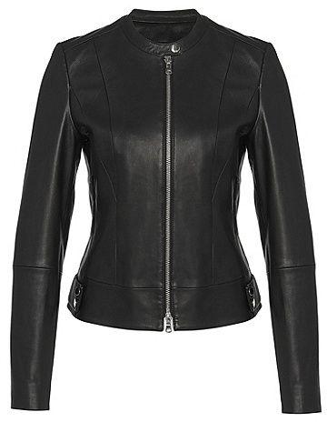 HUGO BOSS Short biker-style leather jacket: `Liara | Blazer .