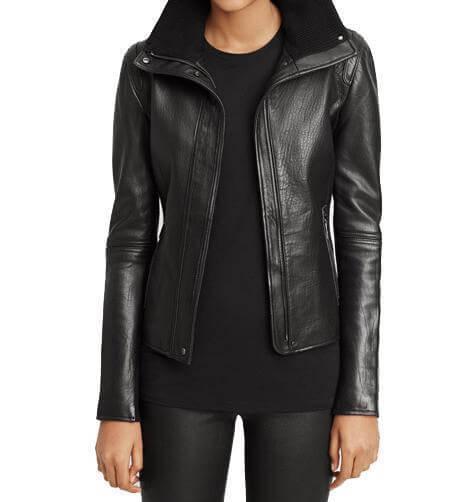 Womens Black Classic Nina Leather Jacket - Black Leather Jack