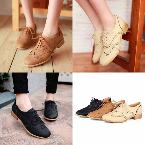 Fashion Round Toe Lace Up Women Flat Oxford Shoes Size 34-43 Shoes .